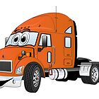 Semi Truck Cab Orange by Graphxpro