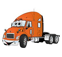 Semi Truck Cab Orange Photographic Print