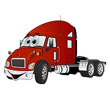 Semi Truck Cab Red Photographic Print