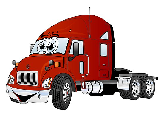 Semi Truck Cab Red by Graphxpro
