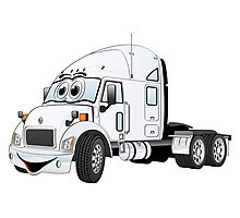 Semi Truck Cab White Photographic Print