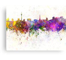 Dusseldorf skyline in watercolor background Canvas Print