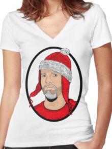 Santa Cobb Women's Fitted V-Neck T-Shirt