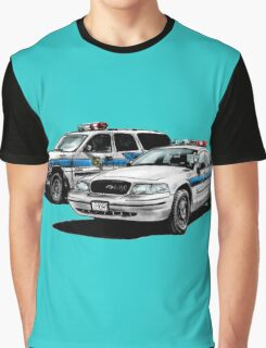 American Police Cars Graphic T-Shirt