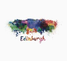 Edinburgh skyline in watercolor Kids Tee