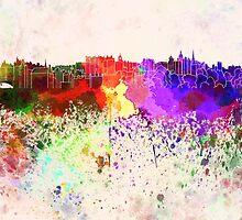 Edinburgh skyline in watercolor background by paulrommer
