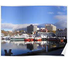 Ferries on Hobart Waterfront, Tasmania Poster