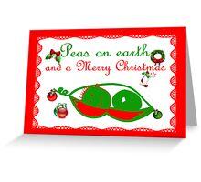 Peas on earth Christmas card Merry Christmas Greeting Card
