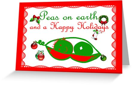Peas on earth Christmas card Happy Holidays by Cheryl Hall