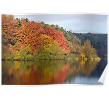 Colours of Autumn at Ogden reservoir Halifax Yorkshire Poster