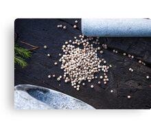 Dry green peppercorns, piper nigrum Canvas Print