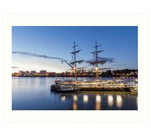 Sunset on the tall ships Art Print