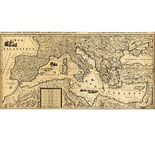 Mediterranean Sea Map by Guillaume Sanson (1680) Photographic Print