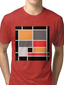 Mondrian style design orange red black gray Tri-blend T-Shirt