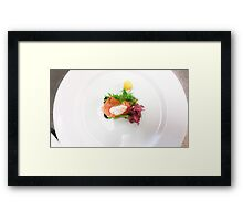 White plate with a salmon bread Framed Print