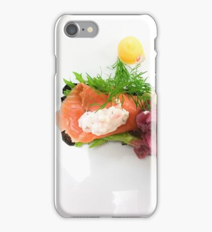 White plate with a salmon bread iPhone Case/Skin