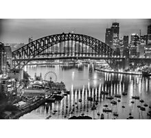 Black and White Fantasia - Sydney Habour, Sydney Australia - The HDR Experience Photographic Print