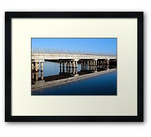 cashen road bridge over cold blue river reflected Framed Print