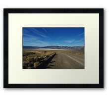 Road to salt flats and mountains, Nevada Framed Print