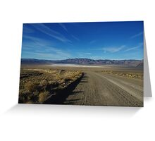 Road to salt flats and mountains, Nevada Greeting Card