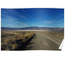 Road to salt flats and mountains, Nevada Poster