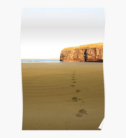 footprints in sand on empty beach on a beautiful winters day Poster