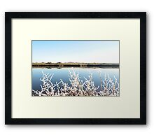 frosty twigs in snow against cold blue sky and river Framed Print