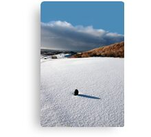 green golf tee on snow covered golf course Canvas Print
