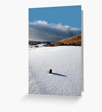green golf tee on snow covered golf course Greeting Card