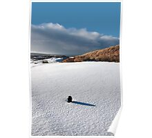 green golf tee on snow covered golf course Poster