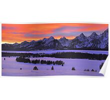 Grand Teton Winter Sunset Poster