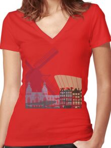 Amsterdam skyline poster Women's Fitted V-Neck T-Shirt