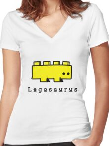 Legosaurus funny nerd geek geeky Women's Fitted V-Neck T-Shirt