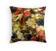 Poinsettas and Blue Glass Ornaments Throw Pillow