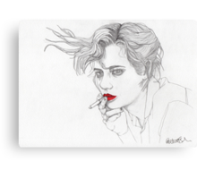 Girl with the Cigarette Canvas Print