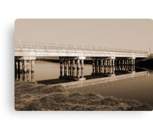 irish road bridge over cold river in sepia Canvas Print