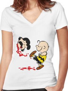 Lucy is a punt charlie brown funny nerd geek geeky Women's Fitted V-Neck T-Shirt