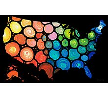 United States of America Map 2 - Colorful USA Photographic Print