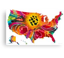 United States of America Map 3 - Colorful USA Canvas Print
