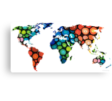 Map of The World 1 -Colorful Abstract Art Canvas Print