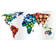 Map of The World 1 -Colorful Abstract Art Poster
