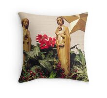 Mary and Joseph and Baby Jesus Throw Pillow