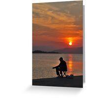 sunset fisherman Greeting Card