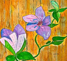 Clematis on the Fence by Christine Chase Cooper