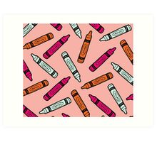 Crayons on Pink Pattern Art Print