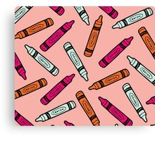Crayons on Pink Pattern Canvas Print