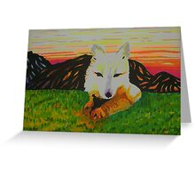 Arctic Fox in spring Greeting Card