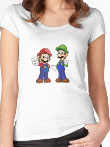 Mario and Luigi Bros. Women's Fitted Scoop T-Shirt