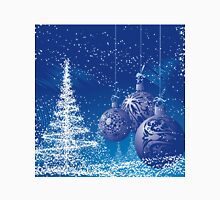 Blue And White Christmas Scene with trees and ornaments Classic T-Shirt