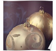 Gold ornate Christmas baubles Poster